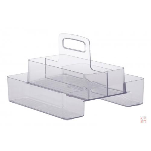 Caja Organizadora Multiuso Doble Con Asa Central Cristal