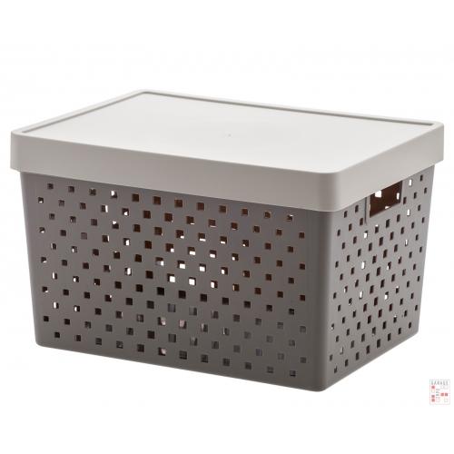 Caja Organizadora Calada Grande Gris Oscuro Quadratta