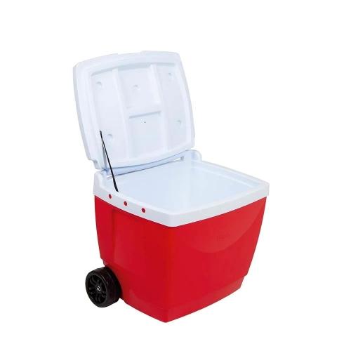 Conservadora Térmica 42lts Roja Con ruedas Y Manija