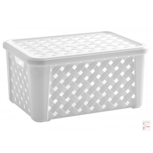 Caja Organizadora símil ratán mediana Blanca