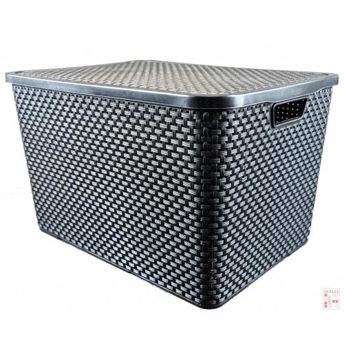 Caja Organizadora Plástica Simil Ratan 40 Lts. Arqplast