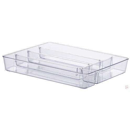 Caja Organizadora Acrílico Cristal Cubiertero 5 Divisiones