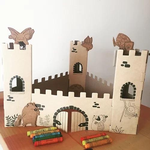Castillo Monstruoso de cartón para armar, colorear y jugar