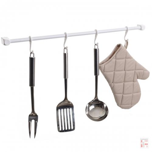 Barra Para Cocina 60 Cm Acero Con Ganchos Metaltru