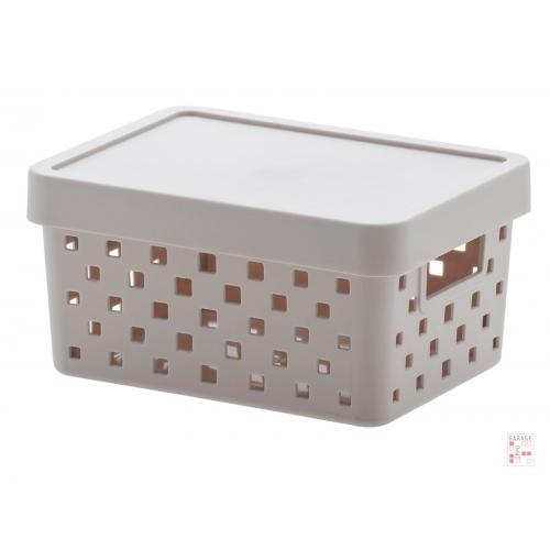 Caja Organizadora Calada Chica Gris Claro Quadratta