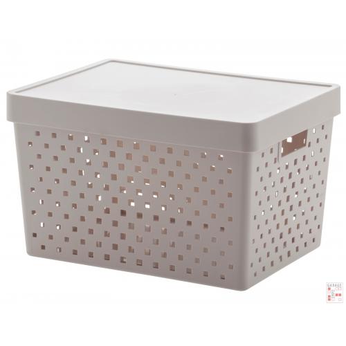 Caja Organizadora Calada Grande Gris claro Quadratta
