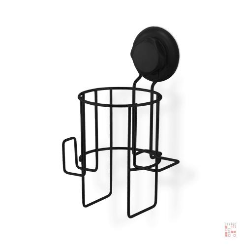 Soporte Para Secador De Pelo En Acero Negro Con Ventosa