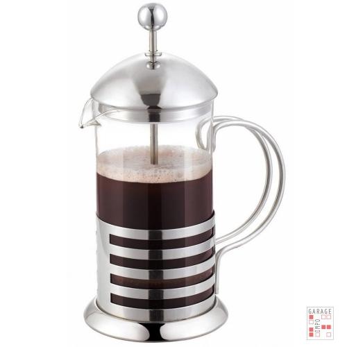 Cafetera Manual Embolo Vidrio Y Acero 1 Litro