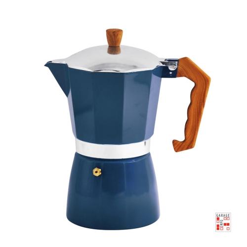 Cafetera Italiana Aluminio 6 Tazas 300 Ml Azul Mango Madera
