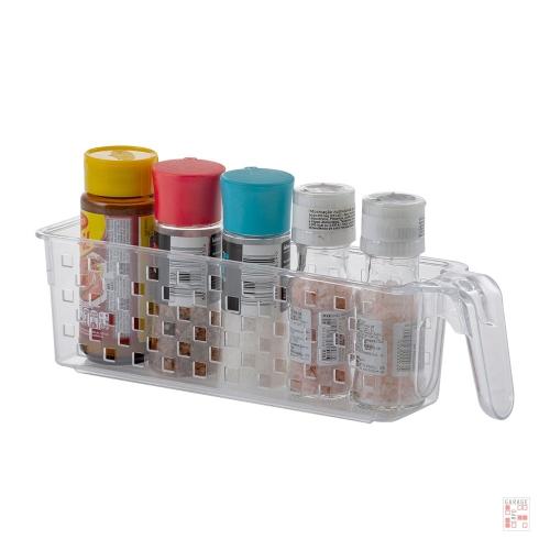 Caja Organizadora Multiuso Con Asa Acrílico Rectangular Cristal