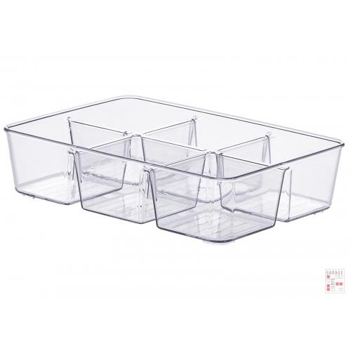 Caja Organizadora Multiuso Cristal Con Divisiones 25 Cm