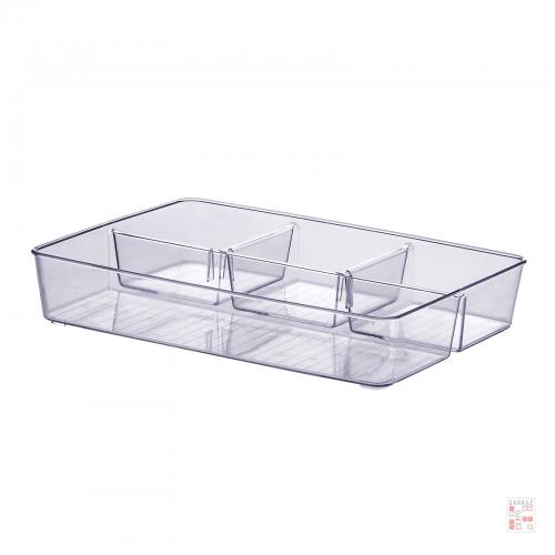 Caja Organizadora Multiuso Cristal Con Divisiones 34 Cm