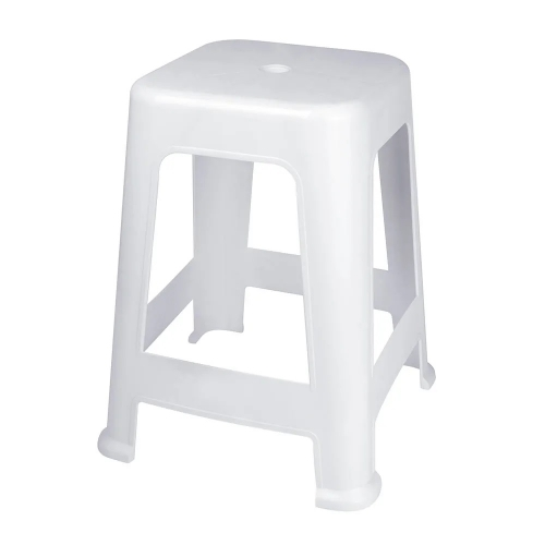 Banqueta Apliable Blanca De Plástico MOR