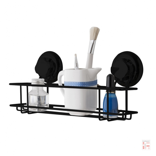 Soporte Organizador Con Ventosa Estante Acero Negro Baño